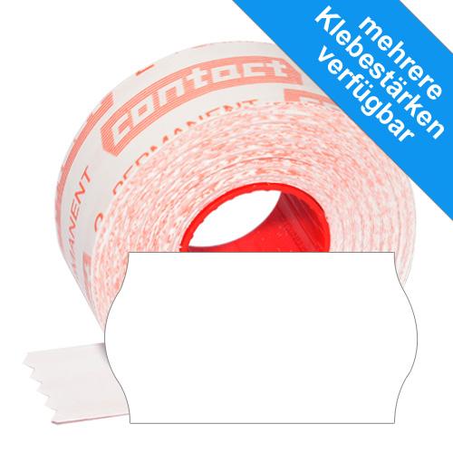 1500 weiße 22x12mm Wellenrandetiketten - original contact 22x12 Etiketten weiß
