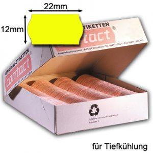 gelbe 22x12mm Etiketten mit gewölbtem Rand für die Tiefkühlung