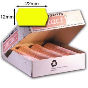gelbe Etiketten 22x12mm mit gewölbtem Rand original contact Etiketten 22x12
