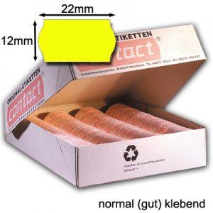 normal klebende Etiketten 22x12mm gelb