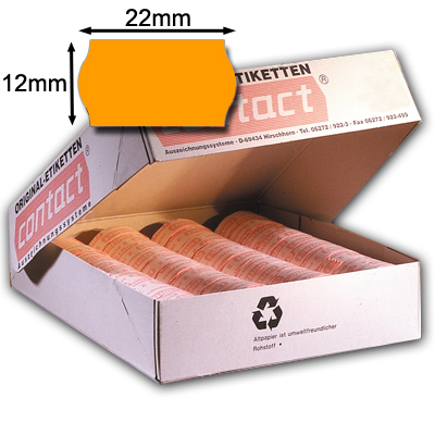 orange 22x12mm Etiketten Wellenrand contact original Etiketten