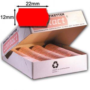 rote 22x12mm Wellenrandetiketten original contact 22x12 Etiketten leuchtrot Klebestärke nach Wahl