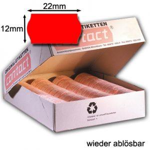 leicht wieder ablösbare Preisauszeichneretiketten 22x12mm original contact Wellenrandetiketten