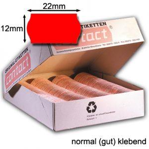 Preisauszeichner Etiketten 22x12mm wellenrand rot original contact Etiketten