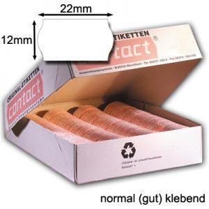 permanent normal klebende weiße Wellenrandetiketten 22x12mm