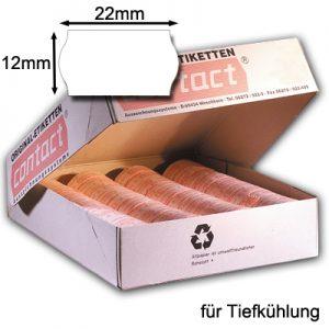 weiße 22x12mm Wellenrandetiketten für die Tiefkühlung