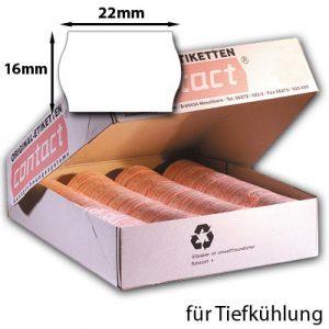 22x16mm Etiketten mit gewölbtem Rand für Tiefkühlung
