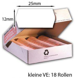 18 Etikettenrollen weiß 25x12mm