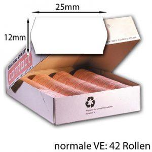 42 Etikettenrollen weiß 25x12mm
