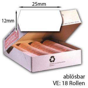 ablösbare Preisetiketten 25x12mm weiß 18 Etikettenrollen