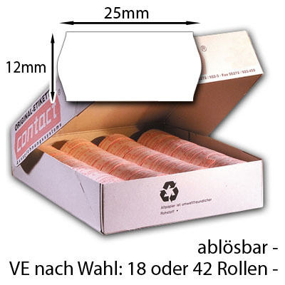weiße 25x12mm Etiketten leicht wieder ablösbar