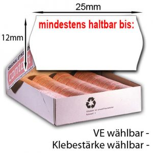 Etiketten mit Aufdruck mindestens haltbar bis: 25x12mm MHD Etiketten für Mindesthaltbarkeitsdatum