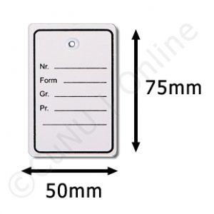 getanzte Einzeletiketten 50x75mm mit Plastiköse Nummer, Form, Größe, Preis