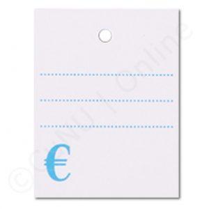 weiße 35x45mm Textiletiketten, blauer Vordruck: gepunktete Linien und € Symbol