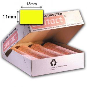 18x11mm Preisetiketten für contact Auszeichner, fluor gelb (leuchtgelb), permanent klebend, rechteckig