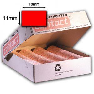 18x11mm rote Preisetiketten für contact Auszeichner, fluor rot (leuchtrot), permanent klebend, rechteckig