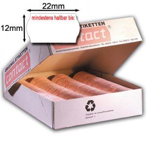 2x12mm MHD Etiketten für Mindesthaltbarkeitsdatum Aufdruck mindestens haltbar bis: