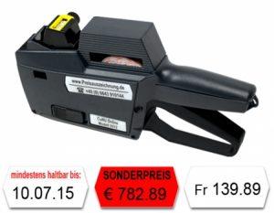 Preisauszeichner für Schweizer Franken Fr, Euro €, Datum und Nummern Modell CuNU 2512 für 25x12mm Etiketten