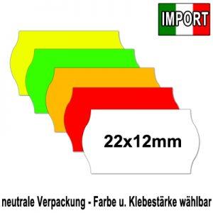 günstige EU Import 22x12mm Etiketten alle Farben alle Klebestärken