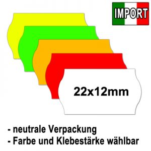 günstige 22x12mm Etiketten EU-Import alle Farben alle Klebestärken