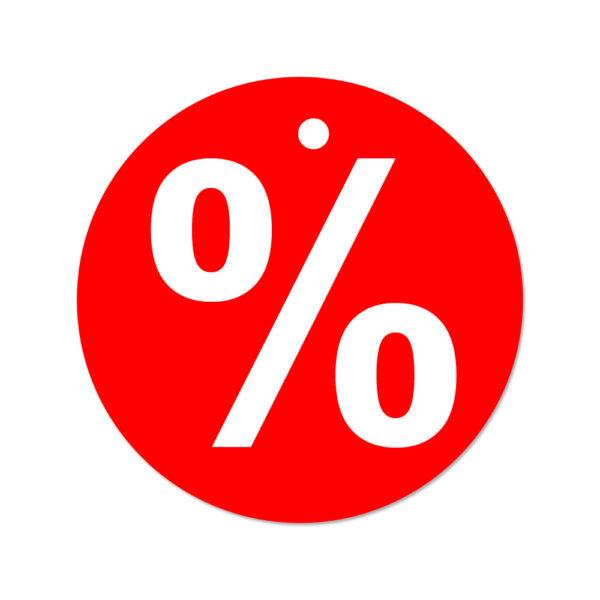 Prozent Anhänger rund Ø 50mm 500 Textiletiketten mit Loch für Heftfäden (beidseitig)