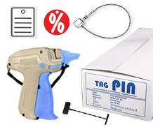 Textilauszeichnung, Heftpistolen, Heftfäden, Anhänge-Etiketten