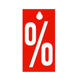 """Kleiderbügeletikett Anhänger für Kleiderbügel % """"Prozent"""" 58x116mm (beidseitig)"""