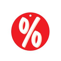 """runde Anhängeetiketten """"Prozent"""" Ø 50mm 500 Textiletiketten mit Loch für Heftfäden (beidseitig)"""