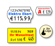 individuelle Preisetiketten mit Firmenname, Logo, Wunschtext
