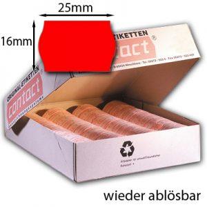 ablösbare rote Wellenrandetiketten 25x16 original contact Etiketten