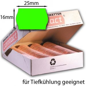 Tiefkühletiketten 25x16mm grün Wellenrand contact
