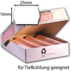 25x16mm Tiefkühletiketten weiß für contact Handauszeichner