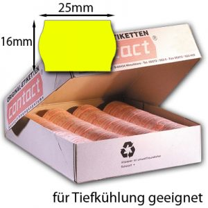 gelbe Tiefkühletiketten 25x16mm orighinal contact Wellenrandetiketten