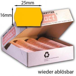 contact Wellenrandetiketten ablösbar 25x16 orange