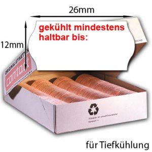 26x12mm MHD Etiketten für Tiefkühlung Etiketten 26x12 mit dem Aufdruck: gekühlt mindestens haltbar bis: