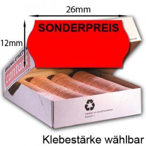 26x12mm Sonderpreisetiketten neon rote 26x12 Etiketten mit dem Aufdruck SONDERPREIS