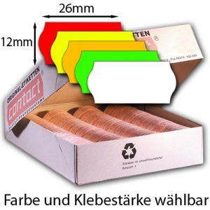 Preisetiketten 26x12mm Etiketten 26x12 mit gewölbtem Rand für die Preisauszeichnung Farbe und Klebestärke wählbar