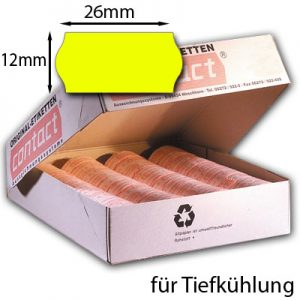 gelbe Tiefkühletiketten 26x12mm