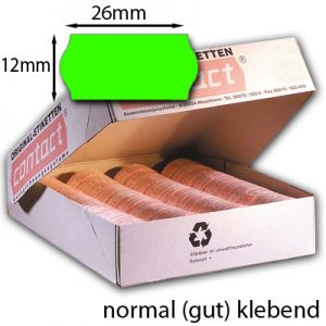normal klebende grüne Wellenrandetiketten 26x12mm