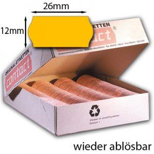 ablösbare 26x12mm Etiketten leuchtend orange neonorange contact
