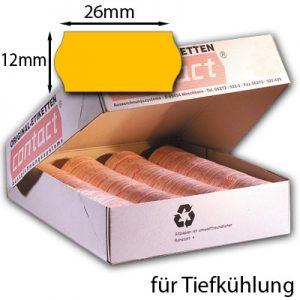 orange Tiefkühletiketten 26x12mm contact Handauszeichnungsetiketten