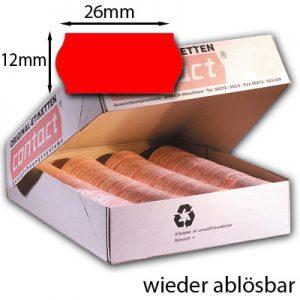 rote ablösbare 26x12mm Etiketten