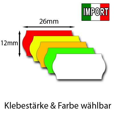 günstige Preisetiketten 26x12mm Wellenrand EU Import