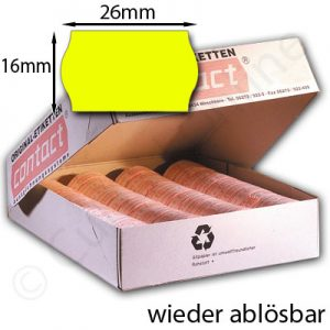 wieder ablösbare Etiketten 26x16mm gelb