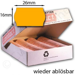 ablösbare orange Etiketten 26x16mm