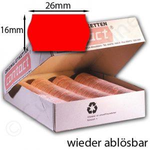 rote ablösbare Etiketten 26x16mm