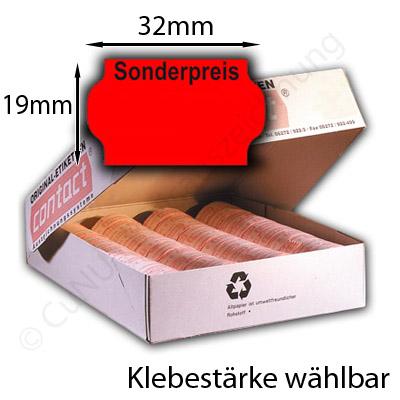 Sonderpreis-Etiketten 32x19mm gewölbter Rand Eindruck oben