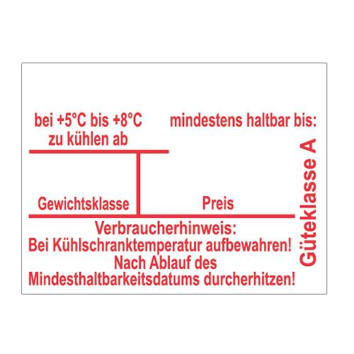 Eieretiketten mit Kühldatum, MHD, Gewichtsklasse, Preis