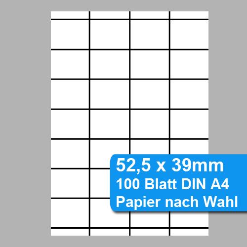52,5mm x 39mm Etiketten für Scannerschienen, perforiertes DIN A4 Papier für Laser oder Tintenstrahldrucker
