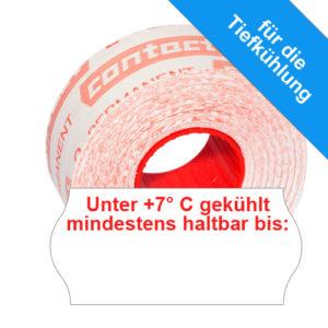 26x12mm MHD Etiketten mit dem Aufdruck: Unter 7° C gekühlt mindestens haltbar bis: